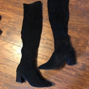 Pretty Little Thing black suede over the knee